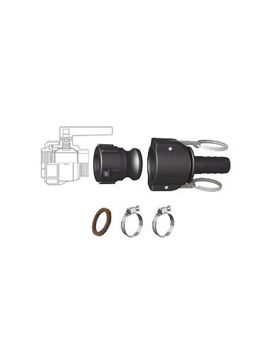 """Pack Vidange Cuve - Raccord à cames 1"""" S60X6 - Embout annelé Ø 25 mm"""