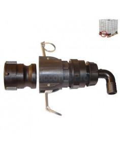 IBC's (S60X6) long dispensing kit + elbow hose coupler Ø 40 + EPDM gasket
